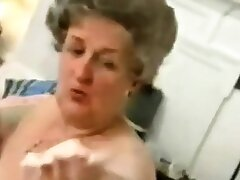 Old Granny  Striping not present Her  Lingerie  and  Playing