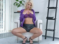 Hot blonde solely girl Luci Angel  takes off her panties to masturbate