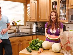 Wife shares the romance in the kitchen