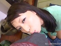 Japan beauty swallows after giving head on cam