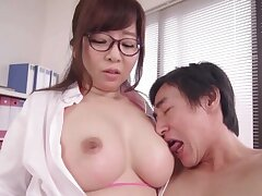 Kaori with big simple boobs enjoys while the brush nipples are mammal licked