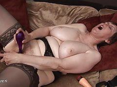 Horny mature grandmother playing with her old pussy