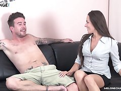 Mea Melone spreads her legs to get fucked and opens her mouth for cum