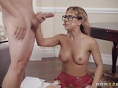 MILF nerdy babe in glasses Cherie Deville bounces on a fat dick