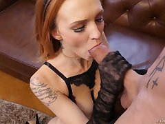 After sucking tasty flannel redhead Belle Claire rides aroused ray on top