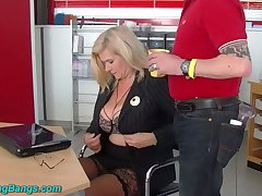 Cast off huge breasted warehouse secretary Marina Montana is fucked by studs
