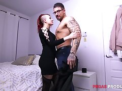 Two well endowed matched set fuck furiously slutty emo girlfriend Lydya Moser