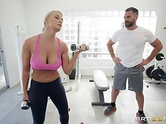 London River enjoys someone's skin best sexual relations at someone's skin gym with her horny trainer
