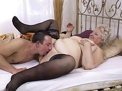 Chubby granny lets rub-down the nephew to bonk their way hard