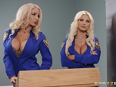 Brittany Andrews together with one more amazing blonde patch friend's pecker