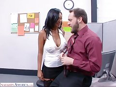 Extravagant Indian office nympho Priya Anjali Rai rides Mr Big pounding cock beyond everything top
