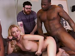 Extreme cuckold with Riley Star plus two black hunks