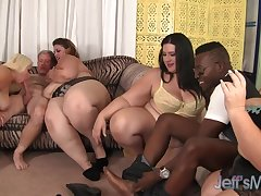 Four cock avidity BBWs licking each other during crazy group action