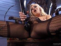 Elegant Cameron Dee masturbates using her favorite sex toys