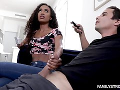Blowjob expert Demi Sutra gives a sneaky blowjob take her white stepbrother