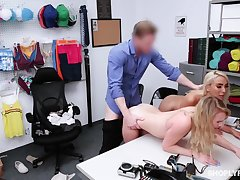 Security guy punishes defrauding stepmom Kylie Kingston and her yummy stepdaughter