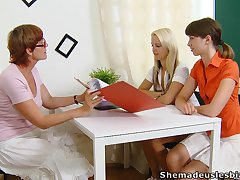 Ugly strict matured whorish tutor Lera joins girls for berate