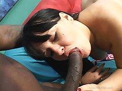 Heavy brunette MILF rocks black dick in her cunt after BJ
