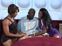 Nasty hot ass babes Nyomi Banxxx and Imani gets drilled doggystyle in a hot orgasm