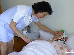 Fat granny seduces a nurse into having sex with her
