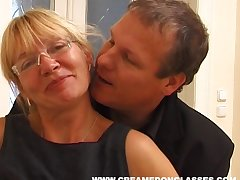 Mature battle-axe Sandra AA with saggy tits fucked by her younger neighbor