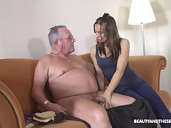 Fresh cutie Azure Angel blows cock belonged all round ugly plump gaffer