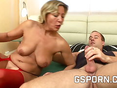 Hot mature in red sexy lingerie fucked on the top of the bed