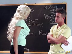 Blonde college teacher Nina Elle loves having dealings with her student