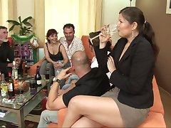 Kinky group sex on make an issue of dado relating to mature amateurs and Gabriela