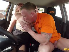 The man's energized dick fucks this hot MILf during her mischievous driving lesson