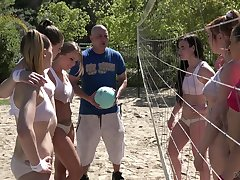 Beach volleyball is sleety into a really wild lesbian dealings down Britney Amber