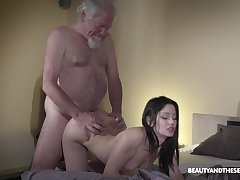Old aged bearded gets woken afflicted more copulation and what a sexy mistress he's got