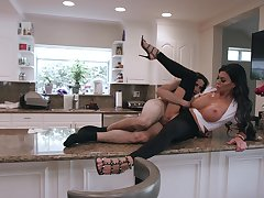 Busty raven tries morning lovemaking with the resolution son aloft the kitchen counter