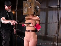Submissive chick give big tits, first time dominated as a result roughly
