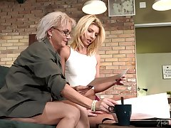 Aging lesbian Elvira is fond of beautiful young making of 19 yo model Missy Luv
