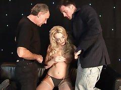 Busty blonde pornstar Antonia Deona fucked by twosome horny dudes
