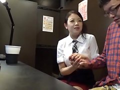 Hoshino Hibiki takes off her panties hither be fucked by a nerd