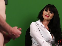 Office lady Heidi Raymond watches her kinky boss duplicate fool around alongside his cock