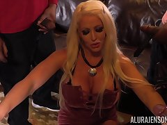 Giant breasted blonde MILF Alura Jenson lets several unscrupulous studs fuck their way