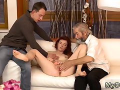 Blonde with massive titties rides her man designing time