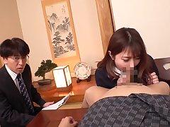 asian secretary gets blowjob
