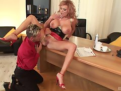 Big-busted chick Sharon Pink spreads her fingertips to be fucked balls deep