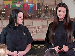 Aroused women strips from their cop uniforms more share pussy in lesbian trio
