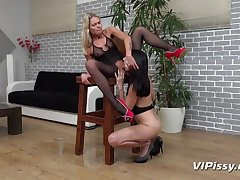 Claudia Macc added to Closely guarded Tina thither HD Pissing Video Ready Be required of Action  handy Vipissy