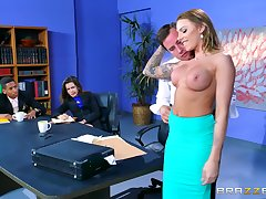 In an office environment, Juelz Ventura lets her slutty side at large to play