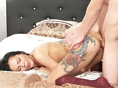 E409 Sexy Tattooed Russian Almost Stockings