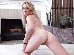 Handsome blonde chick Jasper Shelton pleasures her fake boobs and pussy