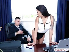 Latin secretary Mia Martinez offers herself sitting on boss's table