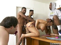 Naughty teacher Syren De Mer scores pain black cocks