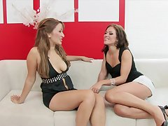 Sweet lesbians share a big gewgaw during their kinky MILF play